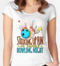 Striking Up Fun On Family Bowling Night Women's Fitted Scoop T-Shirt