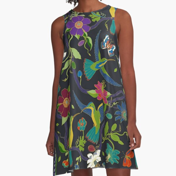 Hummingbirds and Passionflowers - Cloisonne on Black - pretty floral bird pattern by Cecca Designs A-Line Dress