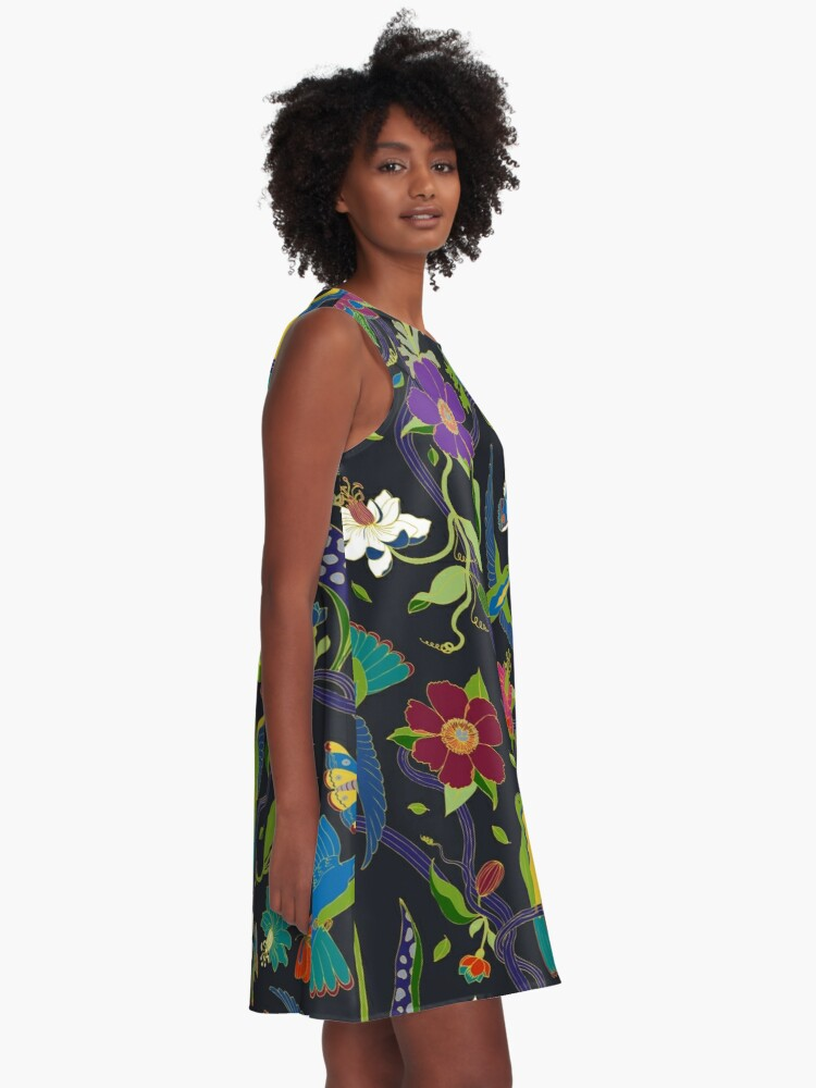 Alternate view of Hummingbirds and Passionflowers - Cloisonne on Black - pretty floral bird pattern by Cecca Designs A-Line Dress