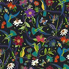 Hummingbirds and Passionflowers - Cloisonne on Black - pretty floral bird pattern by Cecca Designs by Cecca-Designs
