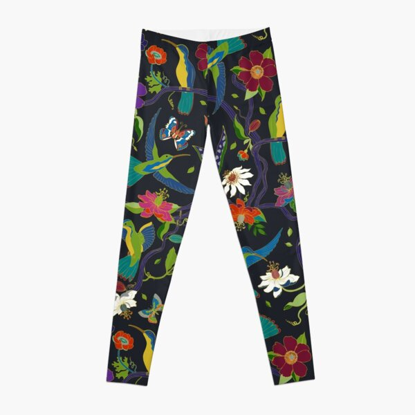 Hummingbirds and Passionflowers - Cloisonne on Black - pretty floral bird pattern by Cecca Designs Leggings