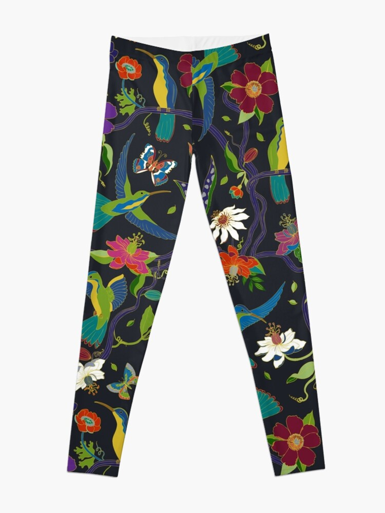 Alternate view of Hummingbirds and Passionflowers - Cloisonne on Black - pretty floral bird pattern by Cecca Designs Leggings