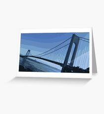 Verrazano Bridge Blue Greeting Card