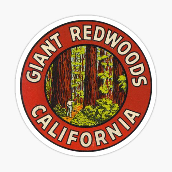 Giant Redwoods Of California Vintage Retro Travel Decal Sticker