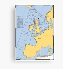 UK Shipping Forecast Map Canvas Print