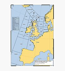 UK Shipping Forecast Map Photographic Print