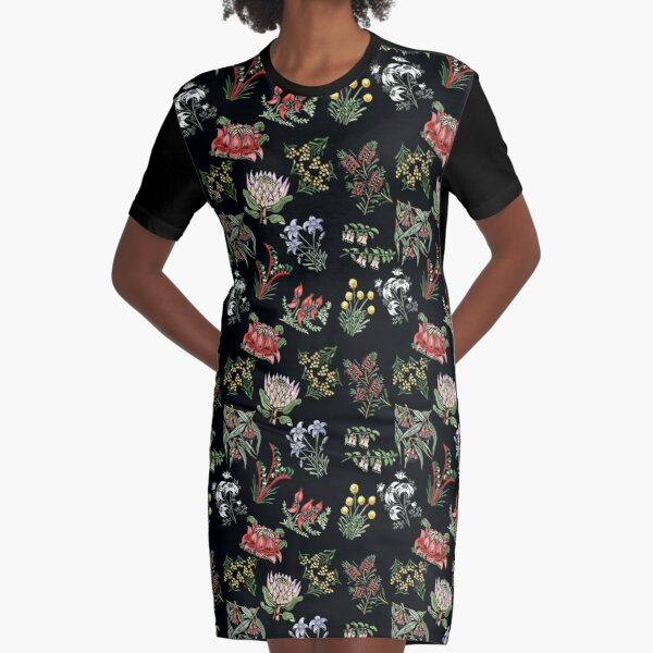 Native Flower Lino Print Graphic T-Shirt Dress