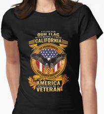 I Stand For Our Flag California Military Family Veterans Women's Fitted T-Shirt