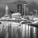 Columbus Skyline Black and White Art - Square 1x1 by Gregory Ballos