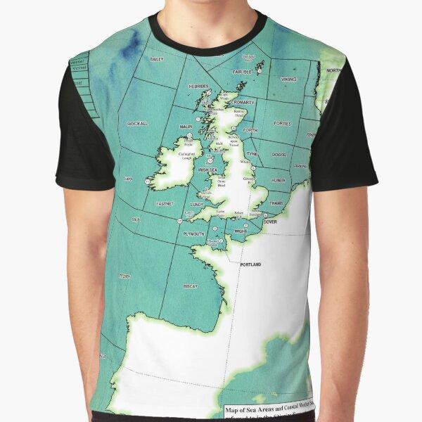 UK Shipping Forecast Map Graphic T-Shirt