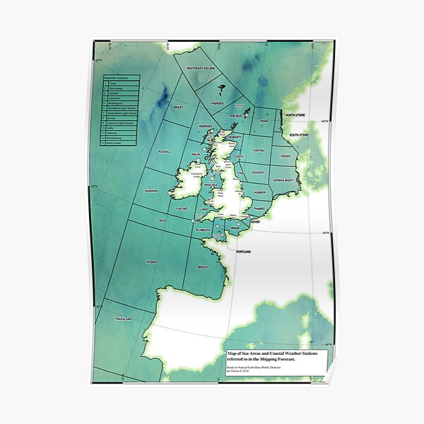 UK Shipping Forecast Map Poster