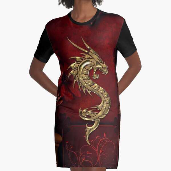 Wonderful golden chinese dragon Graphic T-Shirt Dress