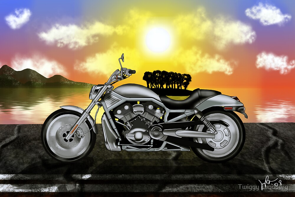 Motorcycle At Sunset by Jason Matthew