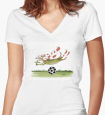 Football Red Team Dog Women's Fitted V-Neck T-Shirt