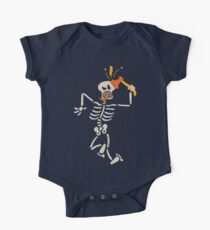 Skeleton striking and breaking its own skull with a sharp axe One Piece - Short Sleeve