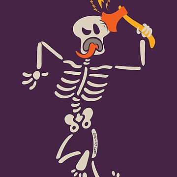 Skeleton striking and breaking its own skull with a sharp axe by Zoo-co