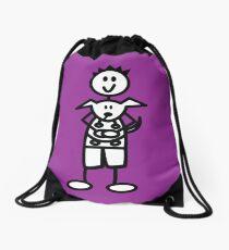 The boy with the spiky hair - dark purple Drawstring Bag