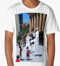 Street performers in white Long T-Shirt