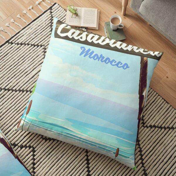 Casablanca Morocco, romantic vintage poster Floor Pillow