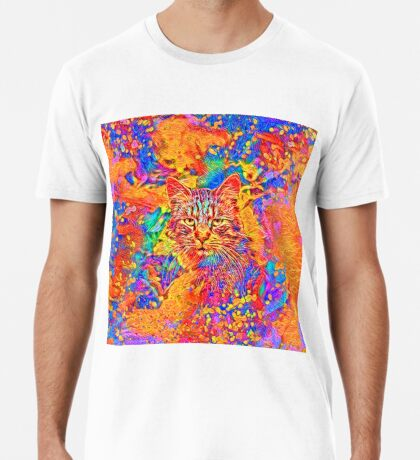 A colorful dramatic Cat is sitting on a colorful quilt Premium T-Shirt