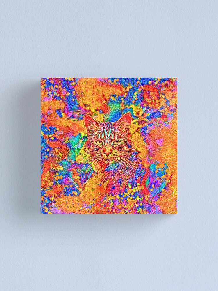 Alternate view of A colorful dramatic Cat is sitting on a colorful quilt Canvas Print
