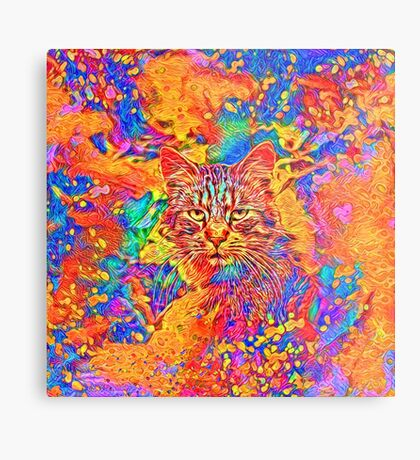 A colorful dramatic Cat is sitting on a colorful quilt Metal Print