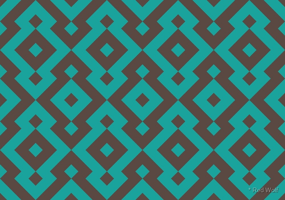 Geometric Pattern: Diamond: Blue/Brown by * Red Wolf