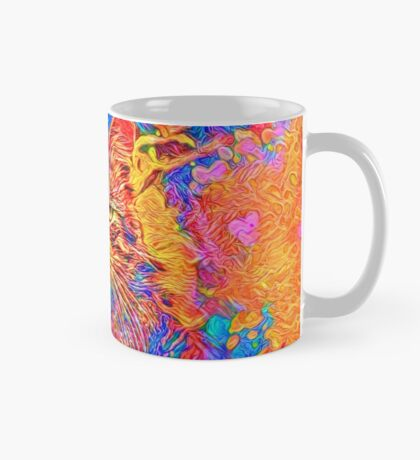 A colorful dramatic Cat is sitting on a colorful quilt Mug