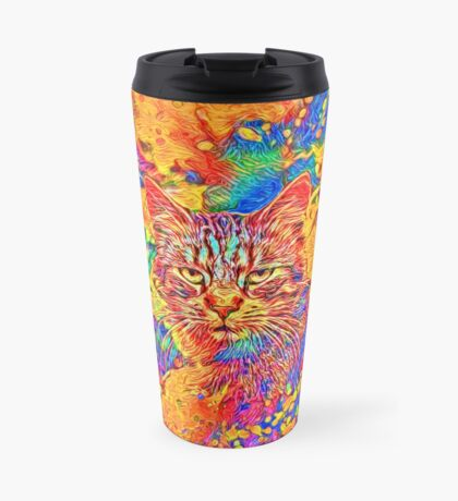 A colorful dramatic Cat is sitting on a colorful quilt Travel Mug