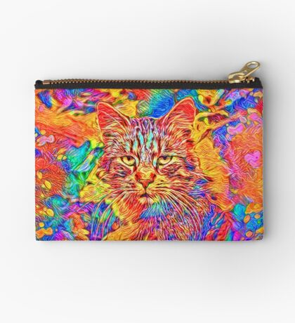 A colorful dramatic Cat is sitting on a colorful quilt Zipper Pouch