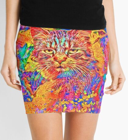 A colorful dramatic Cat is sitting on a colorful quilt Mini Skirt
