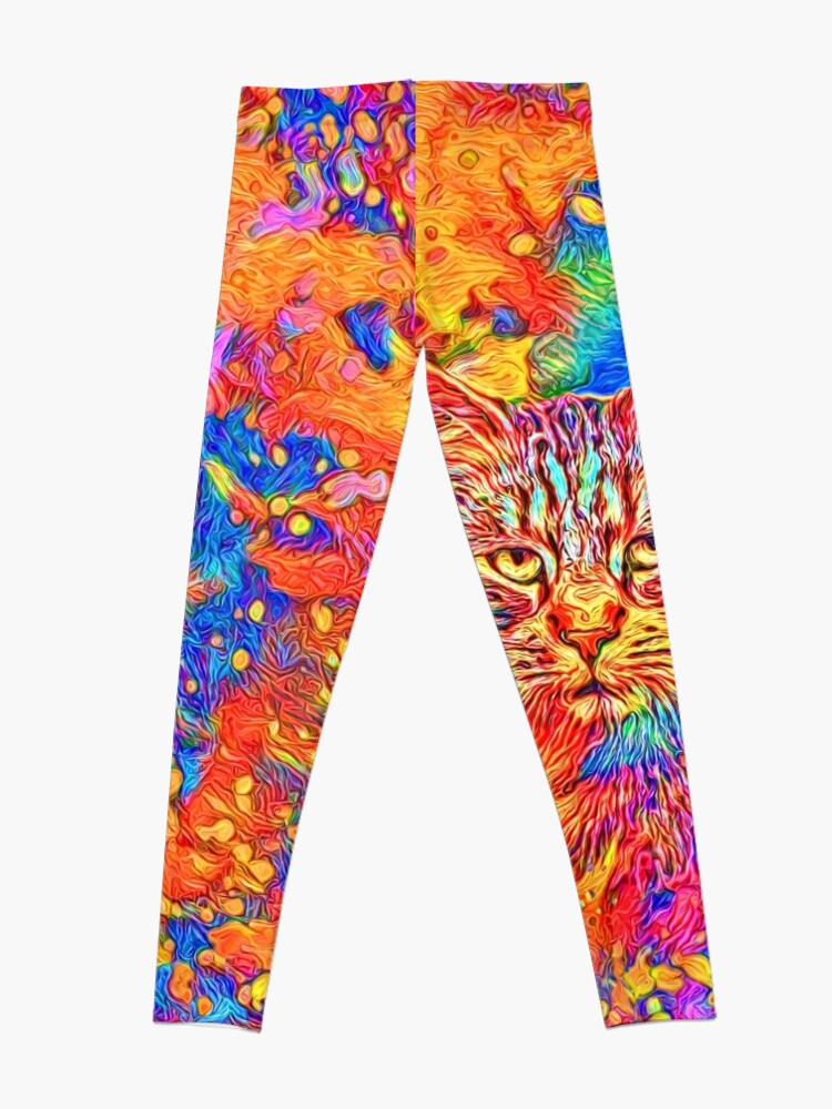 Alternate view of A colorful dramatic Cat is sitting on a colorful quilt Leggings