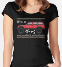 Red XJ 4x4 Lifted Women's Fitted Scoop T-Shirt