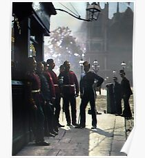 Recruiting sergeants at Westminster, Mitre and Dove pub, 1877. Poster