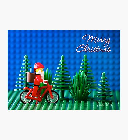 Cycling Santa Photographic Print