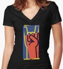 Metal Hand Horns Pop Art Women's Fitted V-Neck T-Shirt