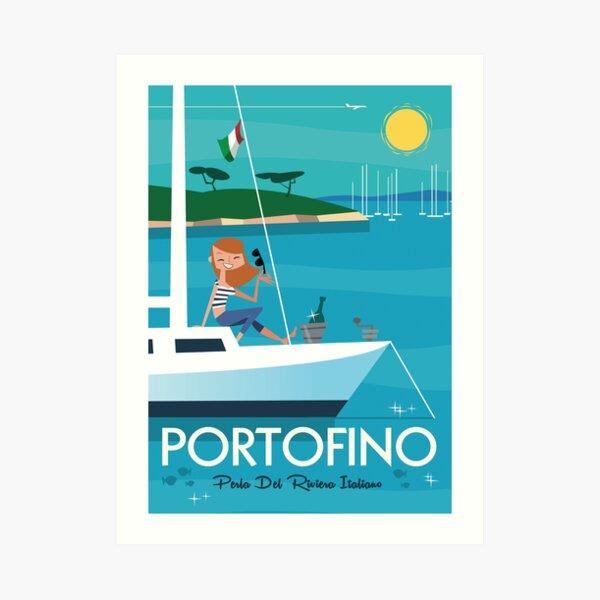 Portofino illustrated travel poster Art Print