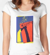 Retro Pop Art Guitarist Women's Fitted Scoop T-Shirt