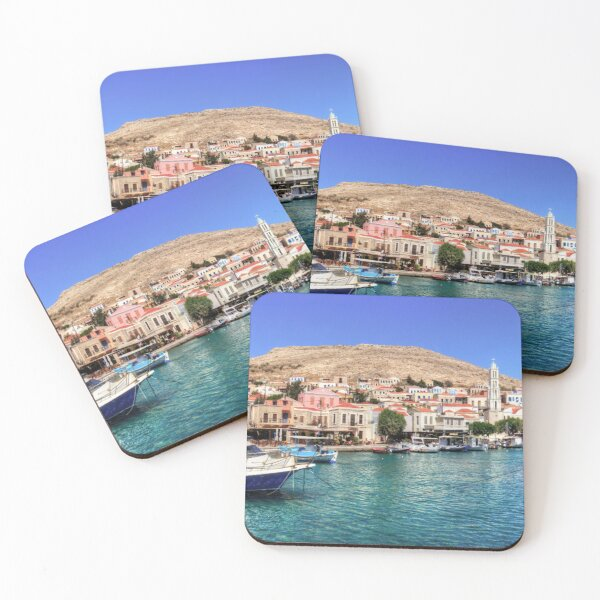 Halki Harbour Front Coasters (Set of 4)