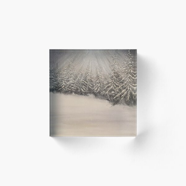 Moonlit Winter Night Acrylic Block