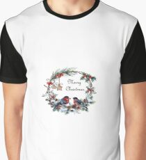 Christmas Wreath with Finches Graphic T-Shirt