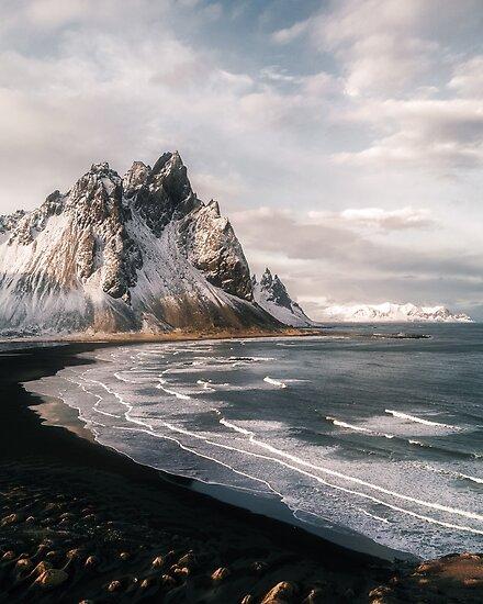 Stokksnes Icelandic Mountain Beach Sunset - Landscape Photography by Michael Schauer