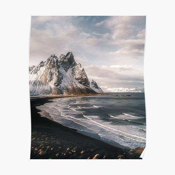 Stokksnes Icelandic Mountain Beach Sunset - Landscape Photography Poster
