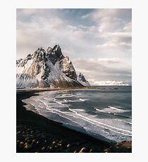 Stokksnes isländischer Gebirgsstrand-Sonnenuntergang - Landschaftsfotografie Fotodruck