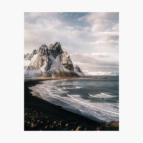 Stokksnes Icelandic Mountain Beach Sunset - Landscape Photography Photographic Print