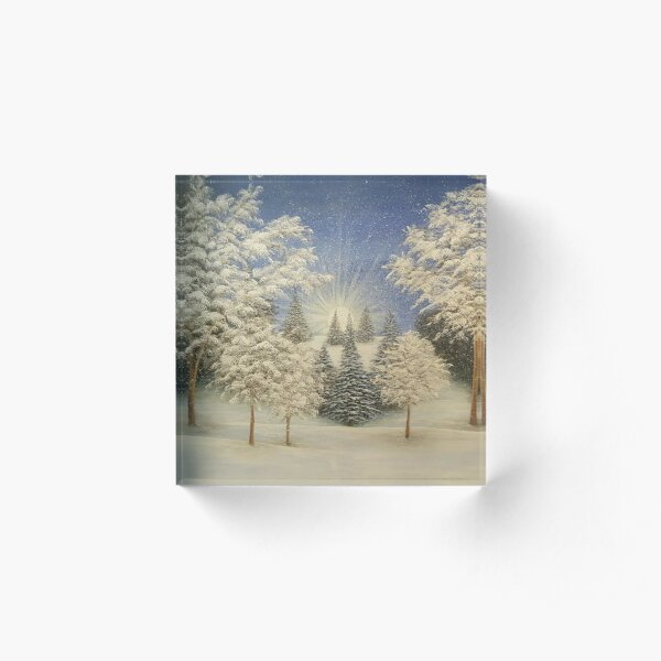 Early Snow Storm Acrylic Block