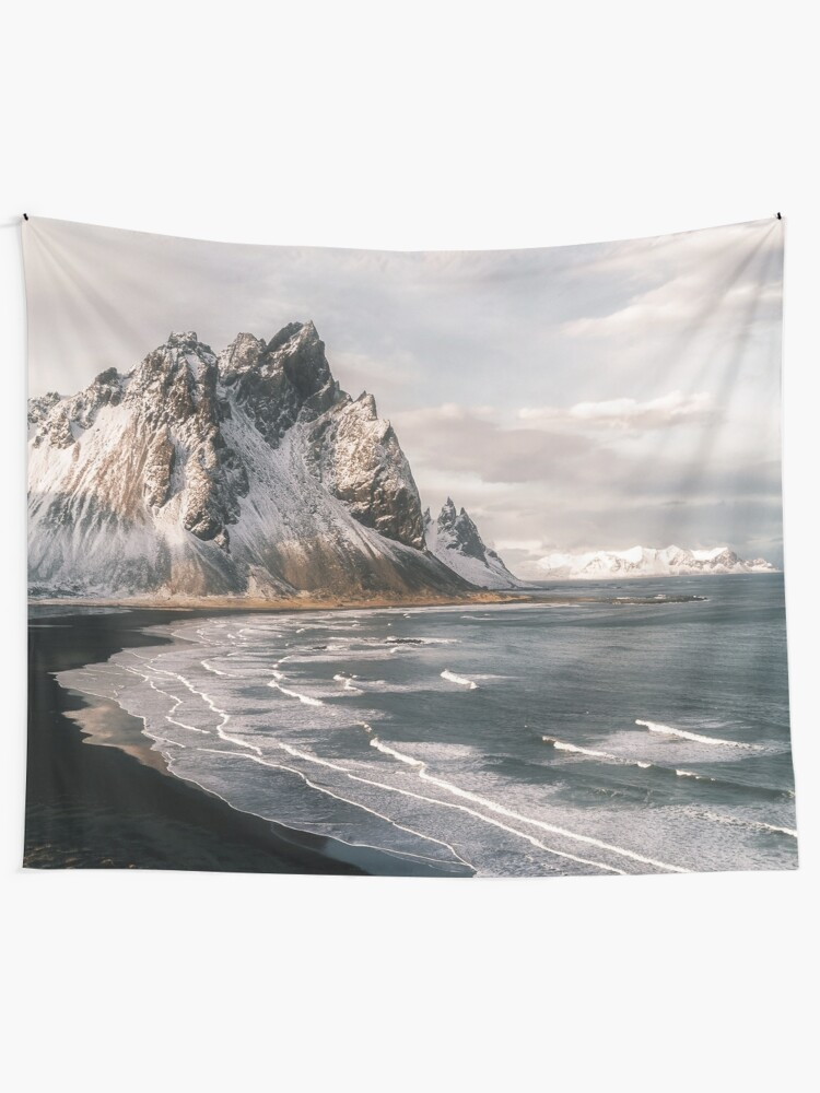 Alternate view of Stokksnes Icelandic Mountain Beach Sunset - Landscape Photography Tapestry