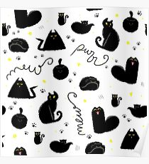 Black Cats Pattern Poster