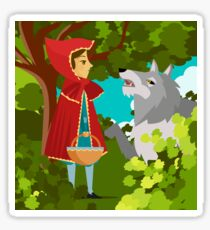 little red hood and big bad wolf in the forest tale Sticker