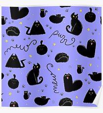 Black Cats Pattern Blue Poster